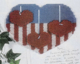 USA Hearts Wall Decoration in Plastic Canvas