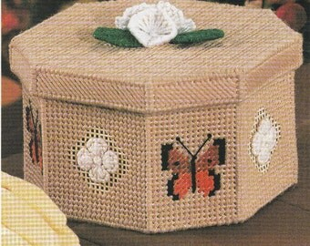 Butterfly and Flower Box in Plastic Canvas