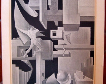"""Delbart DUCHEIN """"THE BUILDERS"""" Signed Lithograph of Black and White Parallel Lines Depicting Building Elements"""