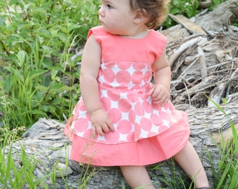 Coral Dot Baby Dress - Coral Toddler Dress - Twirl Dress - Girls Coral Dress