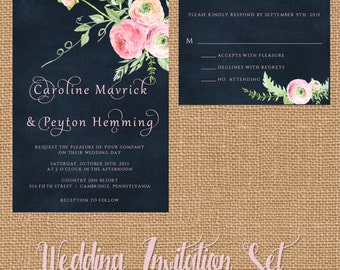 Wedding Invitation Suite, Custom Invitation, Pink Rose Flower Wedding Invitation, Script Wedding Invitation, Pink and Navy Blue