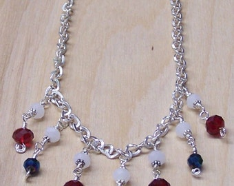 Red, White, and Blue-Green Bead and Chain Necklace