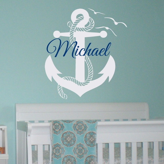 Initial Home Decor: Initial Name Wall Decal Nautical Anchor Wall By FabWallDecals