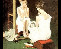 """Norman Rockwell Print, """"Girl At The Mirror"""", Circa 1954, Original Vintage Book Page Print, Post Cover"""
