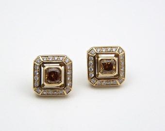 Canary diamond earrings, yellow diamond earrings, yellow stones stud earrings, 14K solid gold, diamond stud earrings, fancy yellow diamonds