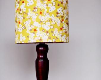 Mustard lamp shade, floral lampshade, yellow lampshade, lampshade, mustard home decor, lamp shade, yellow home decor, table lamp, lighting