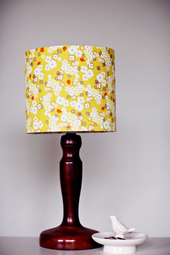 mustard lamp shade floral lampshade yellow lampshade. Black Bedroom Furniture Sets. Home Design Ideas