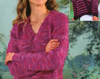 Ladies Sweater and Cardigan Knitting Pattern PDF