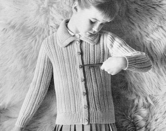Knitting Pattern Girl's Ribbed and Collared Cardigan 24 - 28 inches