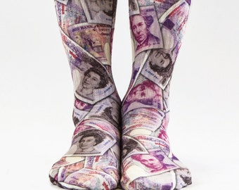 Samson® 20 All Over Sublimation Hand Printed Socks Pounds Queen Money Bill Currency Sterling Quality Print UK