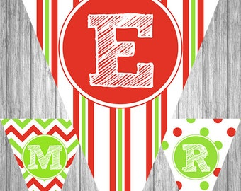 Printable Christmas Banner - Merry Christmas - Red & Green Chevron, Stripes and Damask