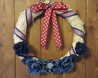 18 inch red,white,and blue wreath