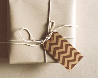 Chevron/Kraft Paper Parcel Gift Tag / Set of 5