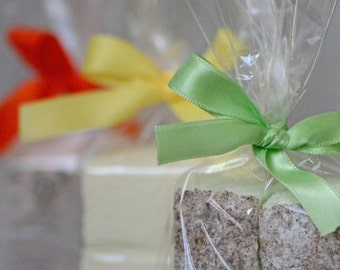 24 Handmade Marshmallow Favours - Choice Of Flavours - Choice Of Ribbon Colour