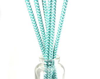 Paper Straws // Set of 10 Decorative Straws // Party Decor Straws / Green + White Chevron Stripe Biodegradable Straws