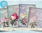 75% OFF SALE Summer Roses - Digital Collage Sheets Printable download, Cards, Large digital image,Transfer Images for bags books fabrics