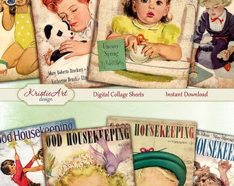 75% OFF SALE Good Housekeeping - Digital Collage Sheet Digital Cards C095 Printable Download Image Tags Retro Atc Cards ACEO Cards