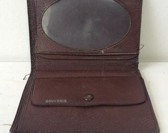 Vtg Old Wallet Purse Brown Leather Souvenir