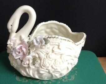Porcelain Swan Planter Vase Soap Dish Succulent Planter Herb Planter Valentine Gift