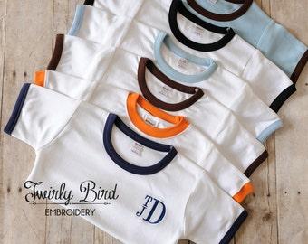 Baby Boy's Shirt, Baby Boys Monogrammed T-shirt or One-piece, Boy's Shirt, Toddler Boy's Shirt, Baby boy Clothing, Preppy Boy