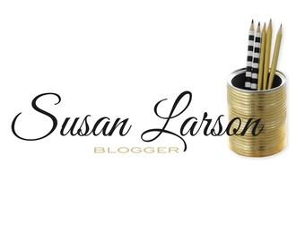 premade logo design, blogger logo, photo realistic logo, femenine logo