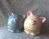 KITTY PIGGY BANK -Ceramic Piggybank Personalized Baby Gift Cat Piggy Bank Ceramic Bank Custom Hand Painted Kitty New Baby Present