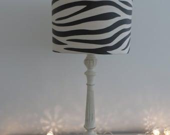 BEAUTIFUL DRUM LAMPSHADE - Muriva zebra animal print paper shade in black and cream