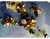 Floral Necklace AURORA / Free Shipping/  with Mother-of-pearl, Gemstones, filigree wire wrap and accessories Gold Plated