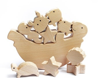 Sea Animal Wooden Balance Toy - Wooden Balancer Game - Educational set - Wooden toy - Christmas gift -