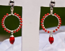 Beaded Wire Wrapped Red Coral Hoop Earrings w/ Red Glass Bead, Silver Plated Wire Pierced or Clip on Earrings
