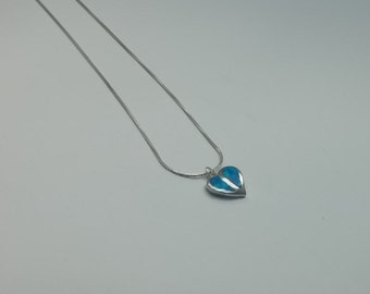 Necklace Heart, necklace opal, necklace sterling silver