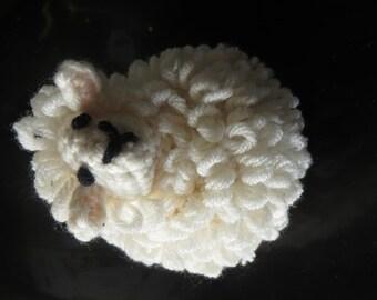 Hand crocheted ecru sheep Merino