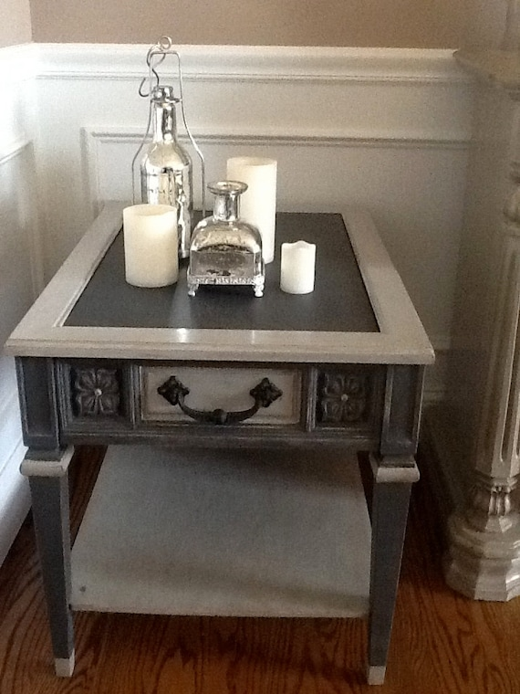 UpCycled End TableSide Table Light Grey And Dark Chalk