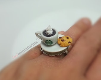 Espresso maccchiato & cookie ring,Miniature ring,Miniature food,Polymer clay ring,Miniature jewerly