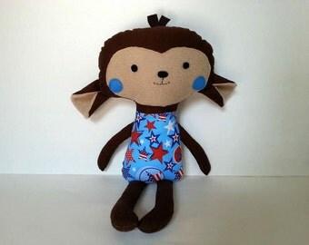 American Monkey Toy - Stuffed Monkey - Monkey Stuffed Animal  - Baby Monkey Toy - Monkey Plushie - Monkey Doll - Monkey baby doll