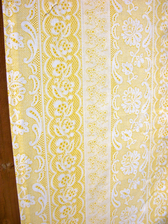 Shower Curtain: Handmade Yellow Lace & Eyelet by CurtainCabootle
