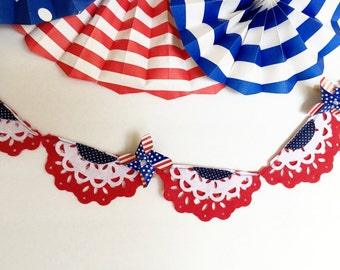 4th of July Banner, July 4th Banner, 4th of July Garland, Patriotic Banner, 4th of July Bunting, Felt Garland,Fourth of July Banner