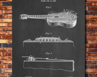 Acoustic Guitar Patent Print Art 1893