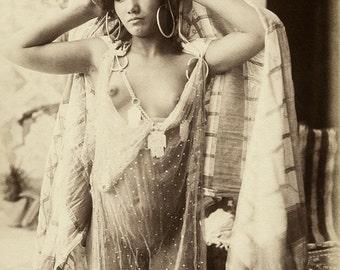 Lehnert & Landrock Photo, female in transparent dress, 1900s