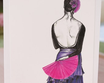 Flamenco Dancer Art Print or  Blank Greeting Card