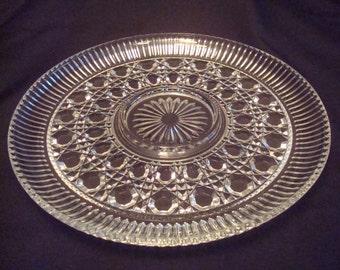 Indiana glass Co platter,  Windsor Pressed glass Cheese Platter,  11 inch cheese platter, glass appetizer platter, Windsor glass platter