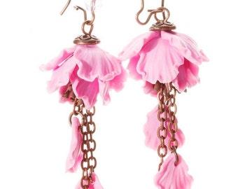 Japanese Earrings - Sakura Earrings - Pink Earrings - Flower Earrings - Dangle Earrings - Floral Earrings - Handmade Earrings - Gift for her
