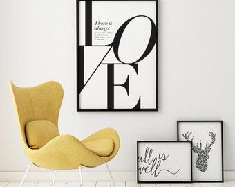 Nietzsche Quote Print, Love Print, Bedroom Wall Art, Bedroom Decor, Typography Poster, Wedding Gift, Love Print Wall Art, Quote Print