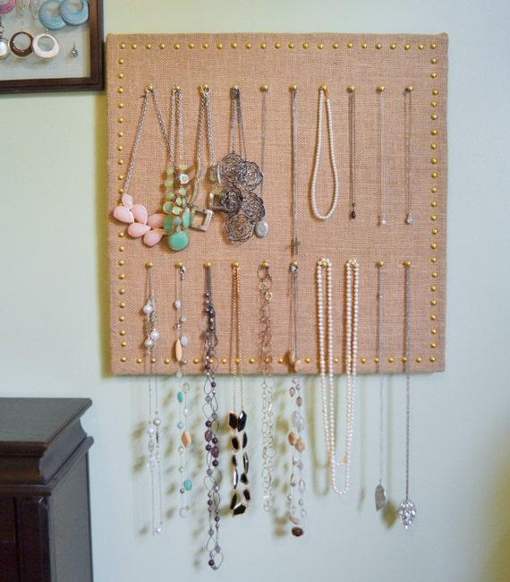 Items similar to burlap jewelry organizer bulletin memo for Bulletin board organizer