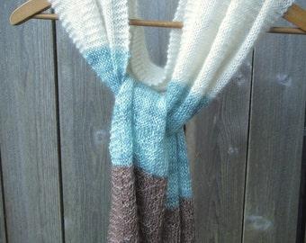 Cashmere Silk Alpaca Scarf knit shawl cream aqua blue handmade natural new unique soft light summer beach brown tan wrap sea