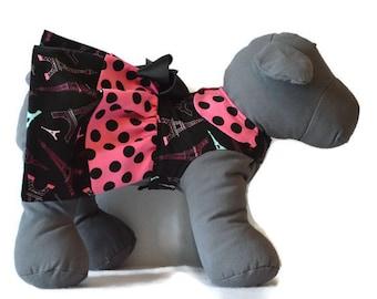 PARIS PRINCESS, Paris Dog Dress, Small Dog Harness, Pink Dog Dress, Dog Dress, Dog Harness Dress, Small Dog Dress, Polka Dot Dog Dress