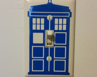 Tardis light switch decal - Doctor Who vinyl decal wall decor