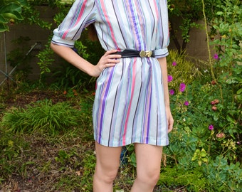 Vintage 1980s Cora's Closet Petite Multicolored Pastel Striped High Neck Pouffed Sleeves Casual Working Girl Secretary Mini Day Dress XS-S