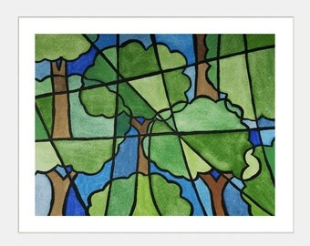 Cubism spring green tree watercolor painting 8 x 10 print