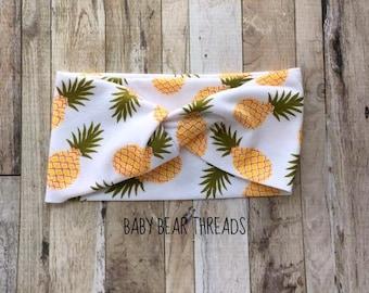 Pineapples - Turban Head Wrap - Baby Headband - Jersey Knit